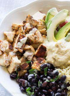 Cilantro Lime Quinoa Bowls with Hummus Vinaigrette and Blackened Chicken