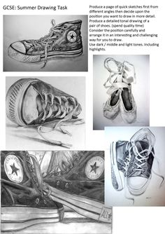 I found this task and thought that it can apply to just about anyone! We all have shoes. Simply chuck them on your desk with a piece of white paper underneath and attempt to draw them for some AMAZING results. Tip- images like above take time! Start with basis shapes and make sure your proportion is accurate BEFORE adding shading/patterning etc