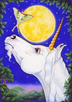 Unicorn ACEO Horse Luna Moth Moon Fantasy Art Print In the Land of the Unicorn. via Etsy.
