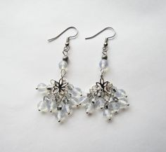 Faceted Clear White Moonstone Gemstone and Silver plated dangle cluster earrings by GypsyDreamerCafe, $17.00