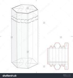 Hexagonal Box With Die Cut Template Stock Vector Illustration 342103868 : Shutterstock