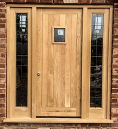 Oak Front Door with Vision PanelAn oak front door with black iron hardware and a clear glass vision panelSuper House Front Cottage IdeasSuper House Front Cottage Ideas houseDouble Composite Front Door Super Wooden Doors, Front Door Colors, Wood Doors, House Front, External Doors, Cottage Front Doors, Oak Front Door, Oak Exterior Doors, Composite Front Door
