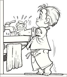Washing Hands Signs Coloring Page For Children