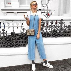 Channel '90s cool in this MOTO denim jumpsuit. In a lightweight cotton fabric, this jumpsuit is perfect to wear alone or over a basic coloured or striped tee. Featuring an on-trend wide culotte leg for a current feel. #Topshop