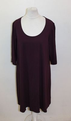 ca6730d1beba EILEEN FISHER Ladies Plum Purple Short Sleeve Scoop Neck Plain Dress Size L