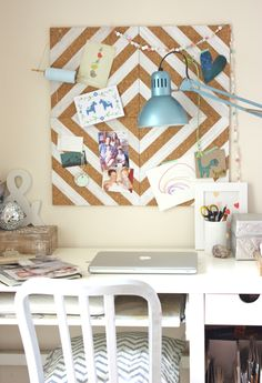 DIY: painted cork-tile pinboard diamond pattern, stripes