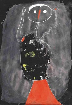 Joan Miró - Untitled (Image), 1937. Gouache on black paper