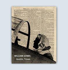 Pilot Print Airplane Pilot Art Retro Aviation Decor Gift
