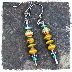 dangle stick earrings yellow and aqua paper by rocksandpaperswans, $28.00