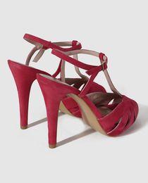 Sandalias de tacón de mujer de Lodi de ante fucsia