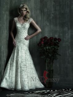 Trumpet/Mermaid Scoop Chapel Train Satin Wedding Dress with Embroidery at Msdressy