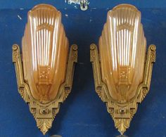 art deco sconces and chandeliers | PW Antique Lighting - Pair Art Deco Wall Lights