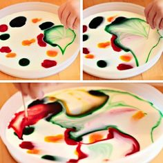 """Modern Parents Messy Kids: Best Playtime Activities Ever - I want to try this """"milk painting"""" Kid Science, Science Experiments, Learn Science, Preschool Science, Toddler Crafts, Preschool Crafts, Toddler Activities, Crafts For Kids, Sensory Activities"""
