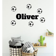 Customised Boys Name With Footballs Wall Sticker Wall Decals Uk, Boys Wall Stickers, Wall Stickers Grass, Wall Stickers Quotes, Vinyl Wall Art, Vinyl Decals, Soccer Room, Football Wall, Personalized Wall Art