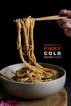 Fiery cold Sichuan sesame noodle.