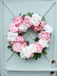 Spring Wreath  Front Door Wreath  Pink Peonies  by DaisyMaeBelle