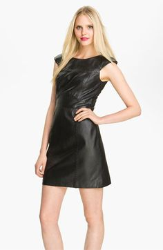 French Connection Stitch Detail Leather Sheath Dress available at #Nordstrom