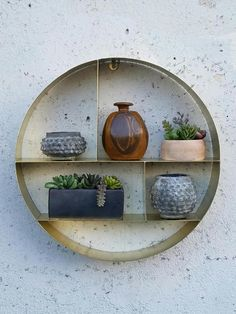 Mid Century Brass Metal Shelf Round X