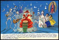 Mexican Exvoto retablo ex voto Day of the dead party