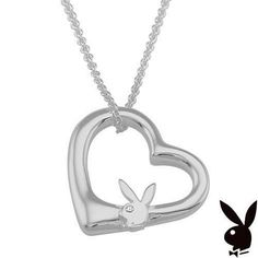 Sterling Silver Playboy Necklace Bunny Floating Heart Pendant Authentic RARE HTF #Playboy #Pendant