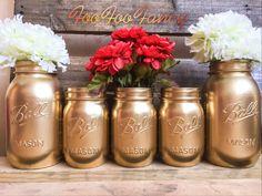 SALE SET OF 5 gold mason jars. Centerpieces. Gold decor.