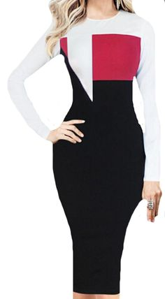 MLG Women Long Sleeve Cocktail Evening Pencil Party Slim Dress -- Want additional info? Click on the image. (This is an affiliate link and I receive a commission for the sales)