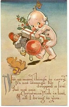 Vintage Cupie Doll Christmas Card (1930s)