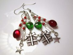 The Handcrafted Christmas: Multi-Dangle Christmas Earring in Red, White and Green
