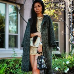 #FashionBlogger @Stephanie Close Liu in #LineandDot #FW13 #pinegreen #classic #Tweed #Coat #PerfectOversizedCoat #giveaway