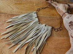 Fringe Necklace, Bohemian Necklace, Leather Necklace, Leather Jewelry, Necklace Lengths, Diffuser Jewelry, Recycled Leather, Leather Fringe, Hippie Style