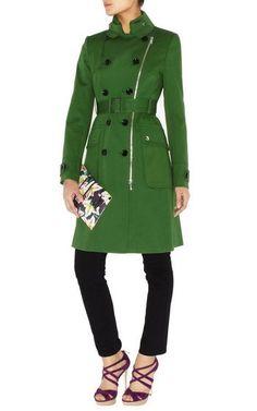 Karen Millen Posh Cotton Coat Green Cn010 Sale