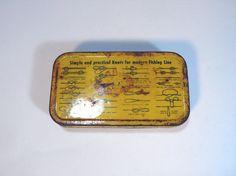 fishing tin, vintage green and yellow metal industrial pocket FISHING KNOTS BOX - tackle tool box - so handy