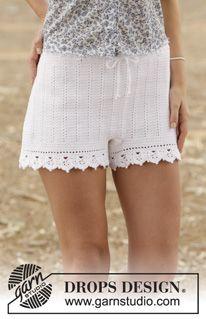 "Elly May - Heklet DROPS shorts i ""Safran"" med staver og hullmønster. Str S - XXL. - Gratis oppskrift by DROPS Design"