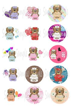 Digital Bottle Cap Images  Ballerina Bears  Digital by Bowtagious, $1.95