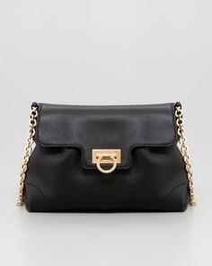 Amelie Soft Leather Shoulder Bag, Black by Salvatore Ferragamo at Neiman Marcus.