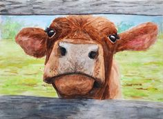 """Cow Hello"" by RIN This is a print of highly detailed watercolor painting created by myself and drawn by hand. This print will compliment and enhance any decor style, especially rustic or farmhouse inspire household. My animal prints will look beautiful on their own and most certainly will make a fine collection & wall display. Joke Time! Q: How did the cow get to Mars? A: It flew through udder space. --------------------------------------------------------------------------------------..."