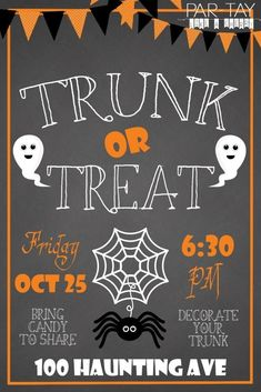 Free Trunk or Treat Flyer - Party Like a Cherry. Just download and add your text in any photo editing program to personalize this 4X6 flyer for your event.  #trunkortreat #partylikeacherry
