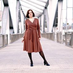 Wanda Wrap dress fitted jersey dress PDF sewing pattern is a figure hugging feminine jersey wrap dress. The six gored skirt has a full sweep. Sizes 0-24 / 30-54 Gored Skirt, Flowy Skirt, Dolman Top, Dress Sewing Patterns, Clothing Patterns, Apron Patterns, Pattern Sewing, Women's Clothing, Modest Outfits
