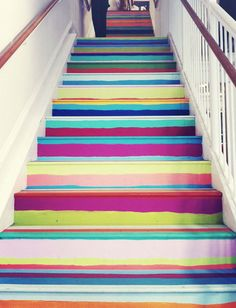 Go to town with every leftover paint color you have.