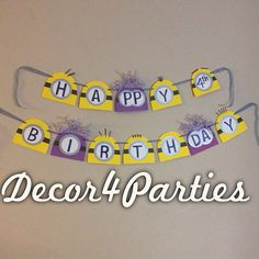 Despicable Me 2 Minion Inspired Birthday Party Banner on Etsy, $25.00