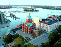 Uspenski Cathedral (orthodox), Helsinki - Finland and Baltic Sea Gulf of Finland.
