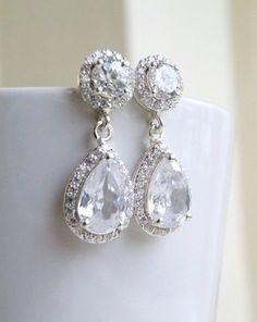 Wedding Jewelry Bridal Pretty Earrings Pear Cubic by SomsStudio, $42.00