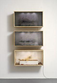 nearlya:  Benjamin Bergmann.3 shot, 300 shot, 600 shot,2011,3 Chinaböller, Firecracker 300, 600 firecrackers, wood, glass, lighting
