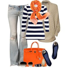 Navy & Orange fall fashion...  change the jeans to a darker wash pair & this look would be super cute!