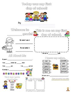 Fun in First Grade: First Day of School Booklet