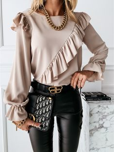 Spring Tops, Elegant Woman, Casual Tops, Blouses For Women, Ruffle Blouse, Tunic Tops, Long Sleeve, Sleeves, Clothes