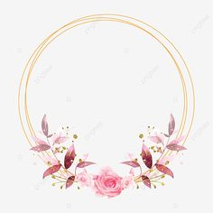 Floral Wreath Watercolor, Watercolor Flowers, Floral Border, Pink Floral Background, Flower Frame, Flower Circle, Ornament Template, Red And Pink Roses, Hand Drawn Flowers