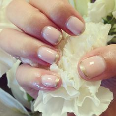 gold tipped bridal nails using Tenoverten polishes Jane and Worth, available at b-glowing.com #bridal #bridalnails #bridalbeauty #manicure #gold #goldnails #bglowing