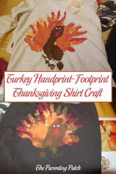 Turkey Handprint-Footprint Thanksgiving Shirt Craft