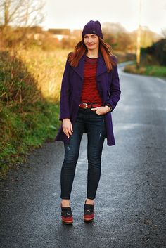 Purple beanie & coat with jeans by Not Dressed As Lamb